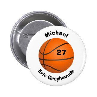 あなたのチーム色の名前入りなバスケットボールを選んで下さい 5.7CM 丸型バッジ