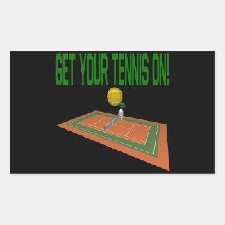 あなたのテニスを得て下さい 長方形シール