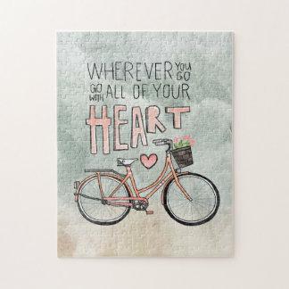 あなたのハートすべて-ヴィンテージの自転車と行って下さい ジグソーパズル