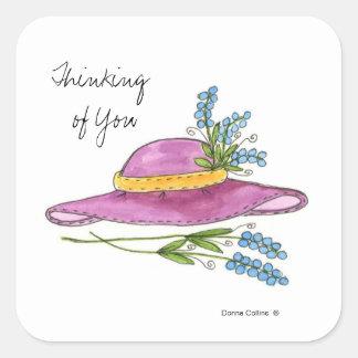 あなたのピンクに帽子の考えることステッカー スクエアシール
