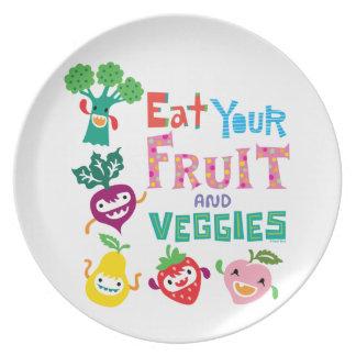 あなたのフルーツおよび野菜1を-メラミンプレート食べて下さい プレート