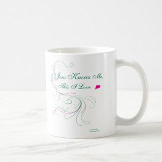 """あなたのマグを選んで下さい: """"イエス・キリスト知っています私をのこれI愛""""は コーヒーマグカップ"""
