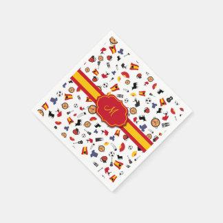 あなたのモノグラムを加える旗が付いているスペインのな項目 スタンダードカクテルナプキン