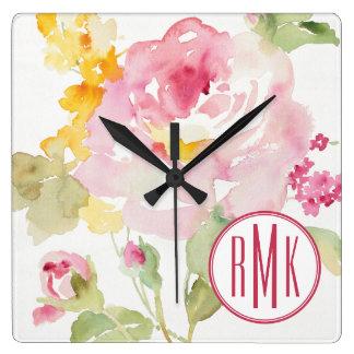 あなたのモノグラム|の7月中旬を加えて下さい スクエア壁時計
