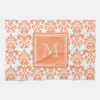 あなたのモノグラム、オレンジダマスク織パターン2    プロダクト キッチンタオル