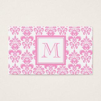 あなたのモノグラム、ピンクのダマスク織パターン2 名刺