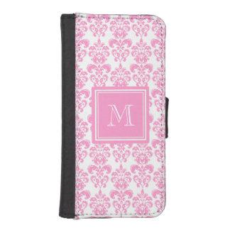 あなたのモノグラム、ピンクのダマスク織パターン2 iPhoneSE/5/5sウォレットケース