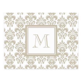 あなたのモノグラム、ベージュダマスク織パターン2 ポストカード