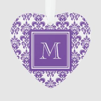 あなたのモノグラム、暗い紫色のダマスク織パターン2 オーナメント