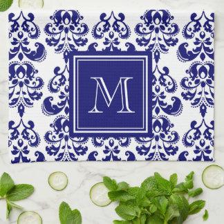 あなたのモノグラム、濃紺のダマスク織パターン2 キッチンタオル