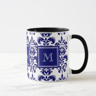 あなたのモノグラム、濃紺のダマスク織パターン2 マグカップ