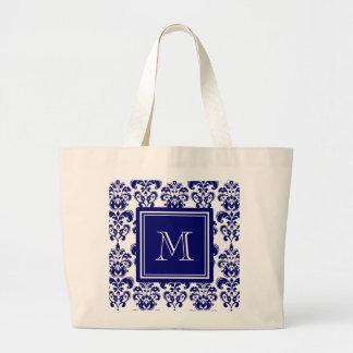 あなたのモノグラム、濃紺のダマスク織パターン2 ラージトートバッグ