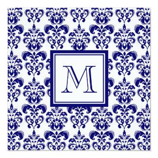 あなたのモノグラム、濃紺のダマスク織パターン2 13.3 スクエアインビテーションカード