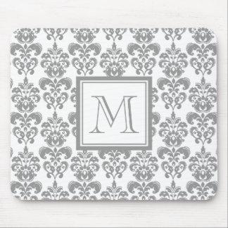 あなたのモノグラム、灰色のダマスク織パターン2 マウスパッド