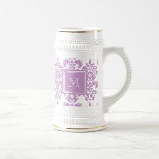 あなたのモノグラム、紫色のダマスク織パターン2 ビールジョッキ