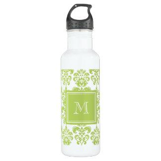 あなたのモノグラム、薄緑のダマスク織パターン2 ウォーターボトル