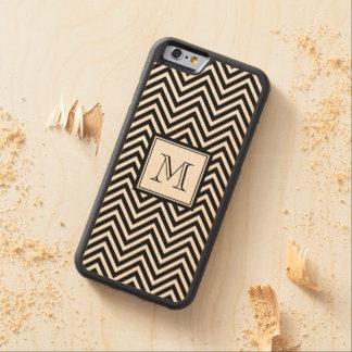 あなたのモノグラム、黒いシェブロン CarvedメープルiPhone 6バンパーケース