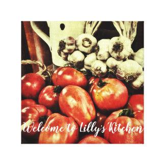 あなたのレトロの台所への歓迎 キャンバスプリント