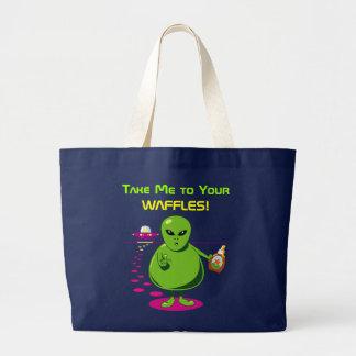 あなたのワッフルに私を連れて行って下さい! ラージトートバッグ