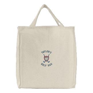 あなたの一流のカスタマイズ可能で名前入りなゴルフバッグ 刺繍入りトートバッグ