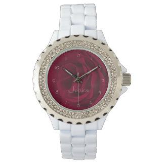 あなたの一流のカスタムなバーガンディのバラのファッション 腕時計
