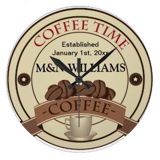 あなたの一流のコーヒー時間ロゴをカスタマイズ ラージ壁時計