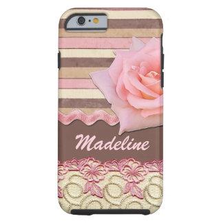 あなたの一流のピンクのバラの花のレースストライプなパターン iPhone 6 タフケース