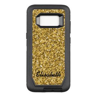 あなたの一流の金ゴールドのグリッターによって印刷される名前入り加えて下さい オッターボックスディフェンダーSamsung GALAXY S8 ケース