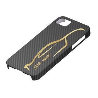 """""""あなたの一流の""""スカイラインの金ゴールドのシルエットのロゴを加えて下さい iPhone SE/5/5s ケース"""