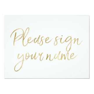 """""""あなたの一流の""""スタイリッシュな金ゴールドの印に署名して下さい 16.5 X 22.2 インビテーションカード"""