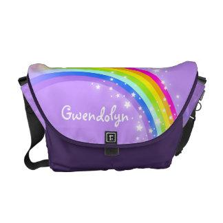 """""""あなたの一流の""""虹の紫色の子供の学校 クーリエバッグ"""