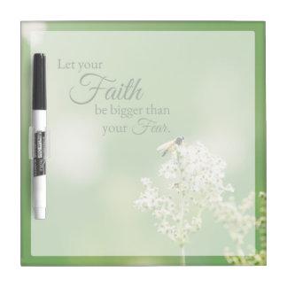 """""""あなたの信頼の… """"キリスト教の引用文の花柄の花許可して下さい ホワイトボード"""