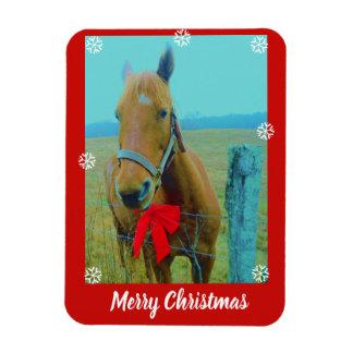 あなたの写真ここにか馬および赤いクリスマスは曲がります マグネット