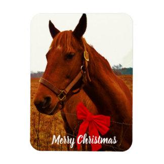 あなたの写真ここに/textか馬及び赤いクリスマスの弓 マグネット