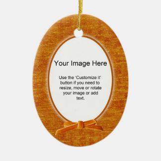 あなたの写真-オレンジシュニールの楕円形のテンプレート--を加えて下さい セラミックオーナメント