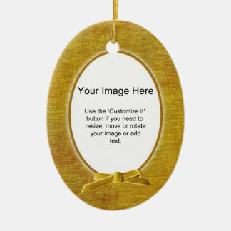 あなたの写真-金ゴールドのシュニールの楕円形のテンプレート--を加えて下さい セラミックオーナメント