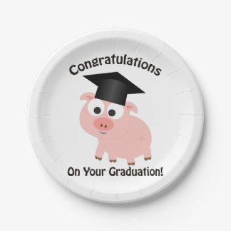 あなたの卒業のお祝い! ブタ ペーパープレート