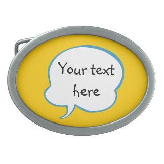 あなたの単語のベルトの留め金が付いているオレンジ思考の泡 卵形バックル