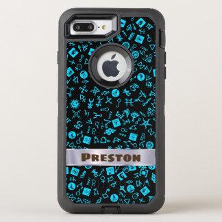 あなたの名前と青そして黒いSymbolicon オッターボックスディフェンダーiPhone 8 Plus/7 Plusケース