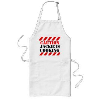 あなたの名前に調理していますグラフィックの調理師のエプロンを警告して下さい ロングエプロン