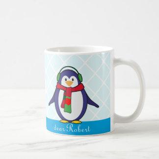 あなたの名前のかわいいペンギンのクリスマス コーヒーマグカップ