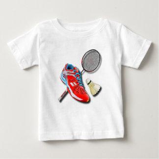 あなたの名前のバドミントンの靴ラケットShuttlecock ベビーTシャツ