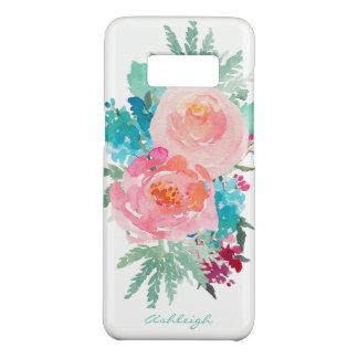 あなたの名前のピンクそしてターコイズの花花束 Case-Mate SAMSUNG GALAXY S8ケース
