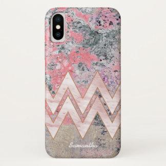あなたの名前のピンクの質そしてシェブロン iPhone X ケース