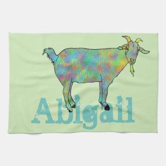 あなたの名前の事のデザインの抽象美術のヤギ キッチンタオル