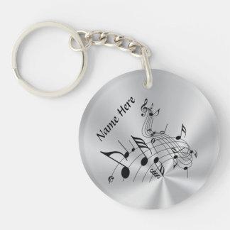 あなたの名前の名前入りな音楽ノートのギフト 丸型(両面)アクリル製キーホルダー