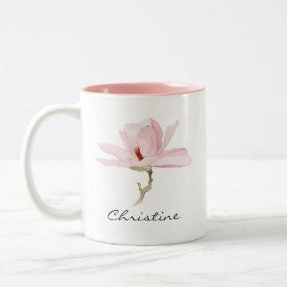 あなたの名前の水彩画のマグノリアの花 ツートーンマグカップ