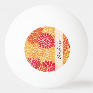 あなたの名前-ダリアの花、花-オレンジ赤 卓球ボール