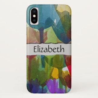 あなたの名前-チューリップの花、植物の茎-紫系統 iPhone X ケース