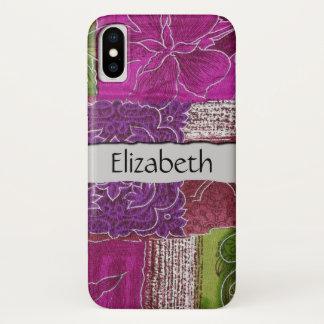 あなたの名前-パッチワーク、花、渦巻きます-ピンク iPhone X ケース